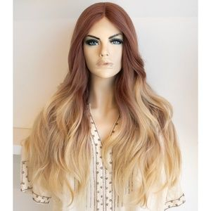 "26"" Ombre Ash Blonde Wig Brown Roots